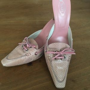 TOD's pink snakeskin & leather mules with lace tie
